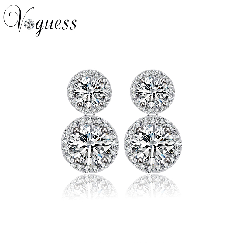 Dazzling Round Cut AAA Cz Earrings Drop White Gold Color Fashion Women Earring Wedding Jewelry Accessories Wholesale