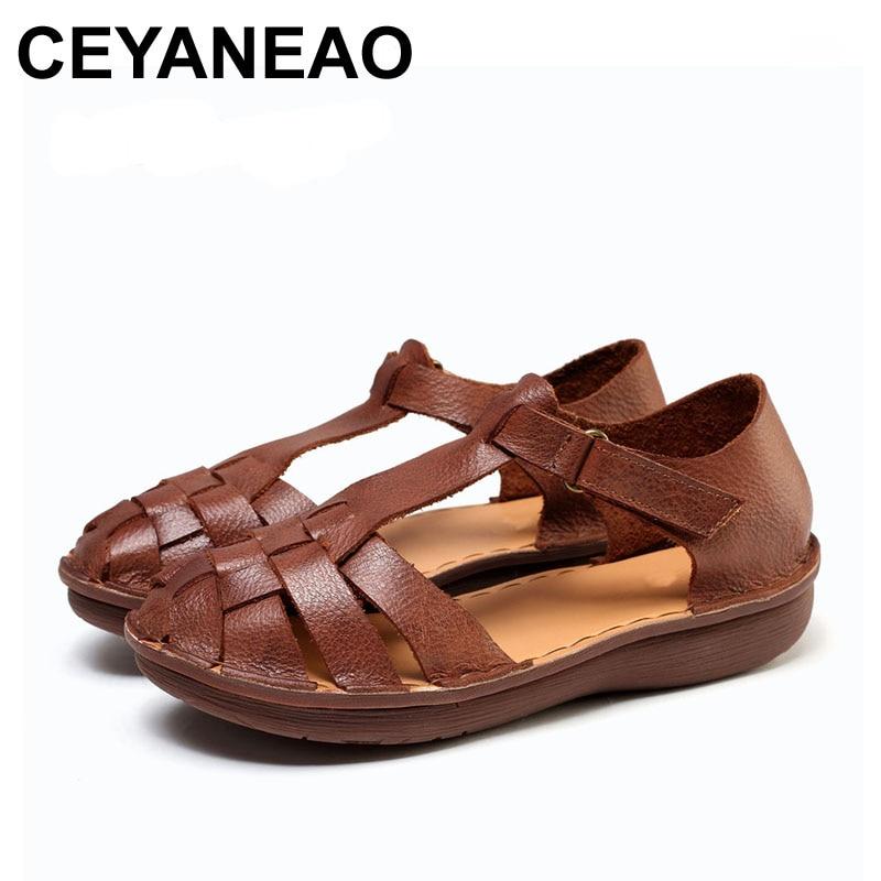 Ceyaneao 2018女性夏のサンダル新しいスタイル本革の靴t 引き分けたデザイン653  グループ上の 靴 からの ローヒール の中 1