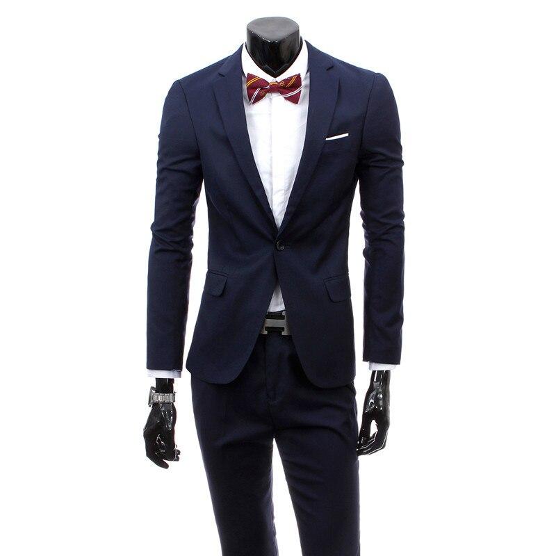 ( Jacket + Pants ) Premium Brand Cotton Groom's Best Fashion Pure Color Wedding Dress Men Suit / Mens Formal Businss Suits