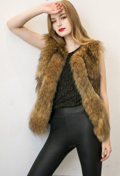 Faux Fur Vest Women Fake Raccoon Dog Fur Fashion Vest In