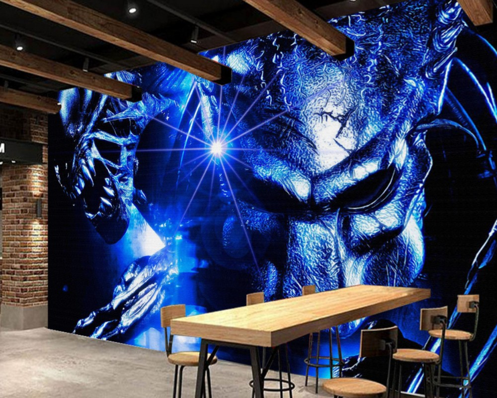 Free Shipping Cinema Wallpaper Custom 3D Wallpaper Alien vs. Predator Warrior Internet Cafe Background Wall Painting Mural free shipping custom 3d stereo outer space wallpaper mural ceiling bar cafe restaurant hotel ktv wallpaper