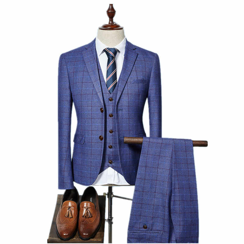 (Jacket+Vest+Pants) 2018 High quality Men Suits Fashion grid stripe Men's Slim Fit business wedding Suit men Wedding suit
