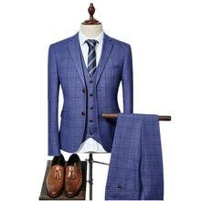 fd3d2886210f49 (Jacke + Weste + Hosen) 2018 Hohe qualität Männer Anzüge Fashion grid männer  Slim Fit business hochzeit Anzug männer Hochzeit an.