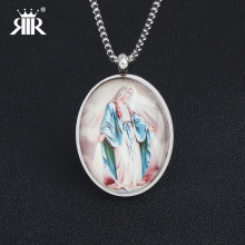 RIR Fashion Jewelry Virgin Mary Pendants Necklaces Stainless Steel Silver Color Mother of God Necklaces For Women Men Jewelry