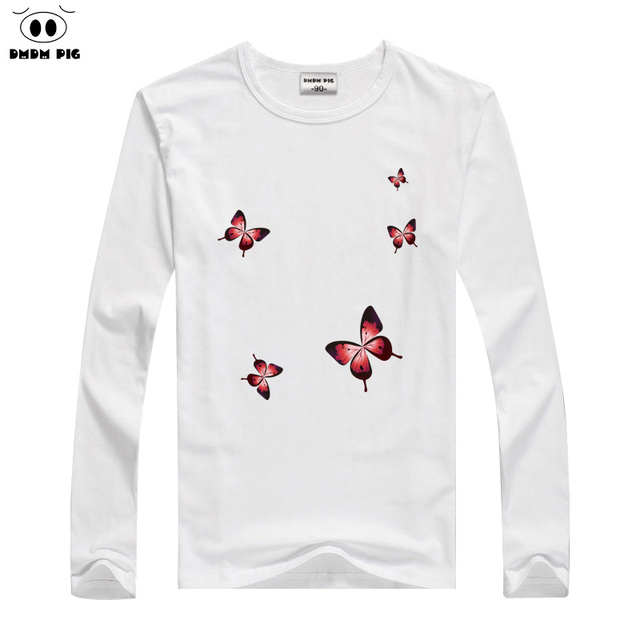 328083730 DMDM PIG Kids Clothes Boys Long Sleeve Butterfly T Shirt Children Baby Girl  Tops Girls T-Shirt Size 2T 3 4 5 Years Tshirt