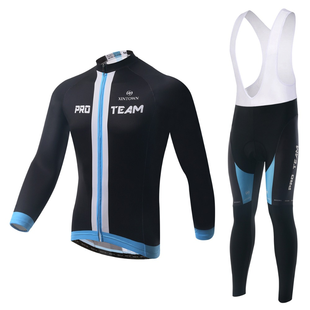 XINTOWN Pro Team Men's Long Sleeve Cycling Jersey Sets Breathable 3D Padded Bicycle Sportswear Cycling Clothings Black wosawe men s long sleeve cycling jersey sets breathable gel padded mtb tights sportswear for all season cycling clothings