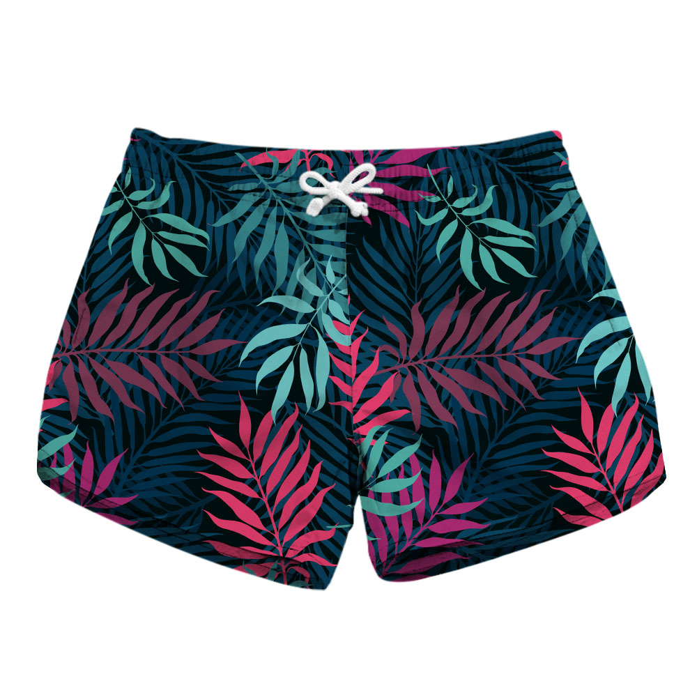 New 2018 Trendy fashion Women Shorts Summer Beach Casual color leaves print pattern print Loose Shorts Hot women board short
