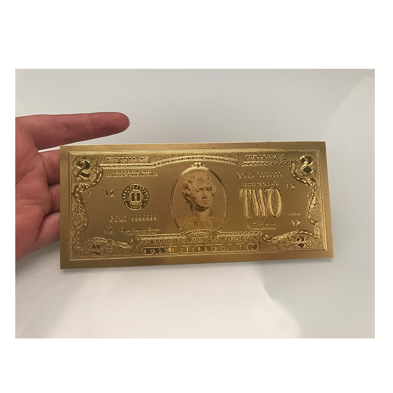 USA Gold Foil 2 Dollar Note Paper Money US Gold Banknotes Bill