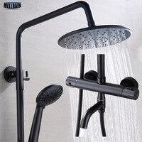 Matt Black качество Ванная комната термостатический Ванна Душ латунь смарт смеситель для душа 9 дюймов ABS Насадки для душа