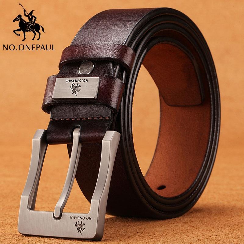 NO, ONEPAUL de vaca de cuero genuino de lujo Correa hombre cinturones para hombres nuevos de moda camisa classice vintage pin hebilla de correa de los hombres de alta calidad