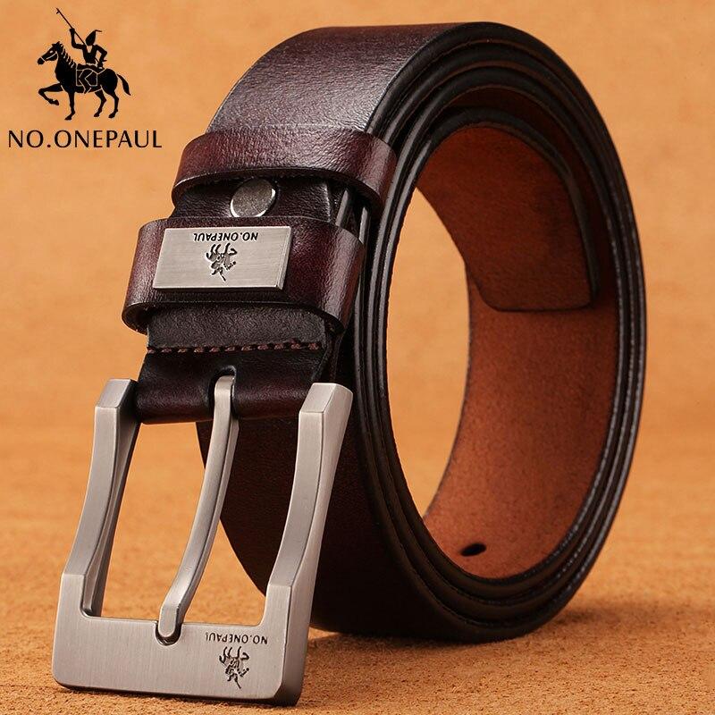 NO. ONEPAUL vaca genuína de luxo de couro strap masculino cintos para homens nova moda classice vintage pin fivela men cinto de Alta Qualidade