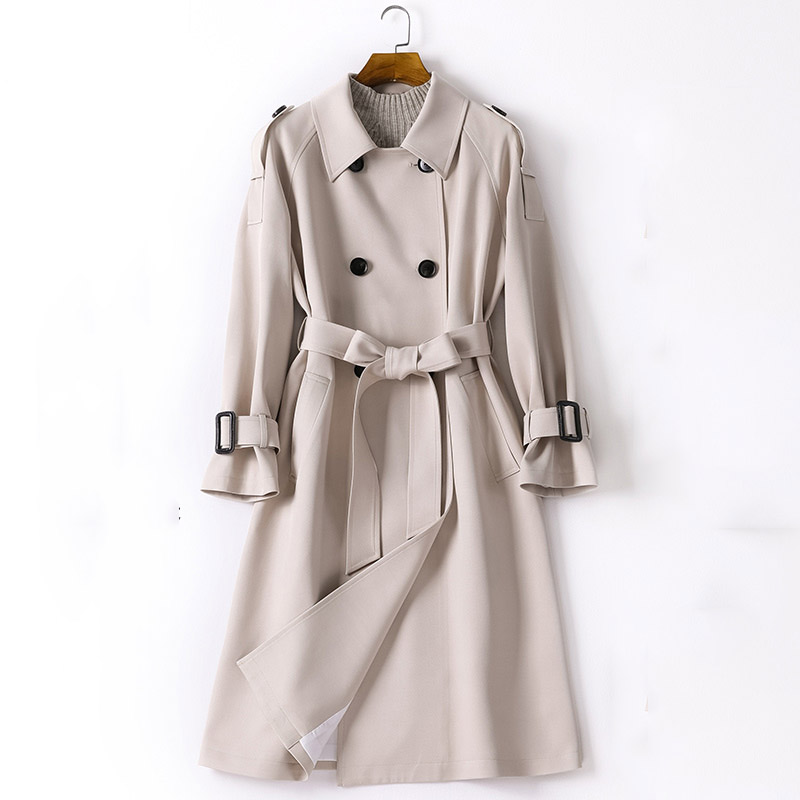 Adjustable waist sashes trench coat women double breasted turn down collar slim outerwear 2019 autumn winter
