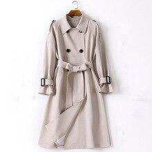 Регулируемый пояса плащ для женщин двубортный отложной воротник изящная верхняя одежда на осень-зиму
