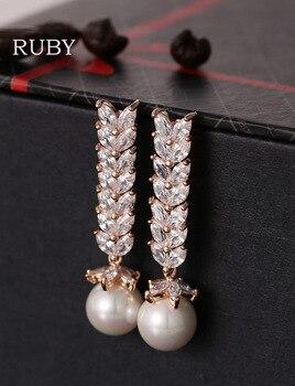 Three Plated Colour Fashion CC Wedding Round Pearl Stud Earrings Elegant 3A Zircon Earring Pendientes Cute Earrings Hot Sale