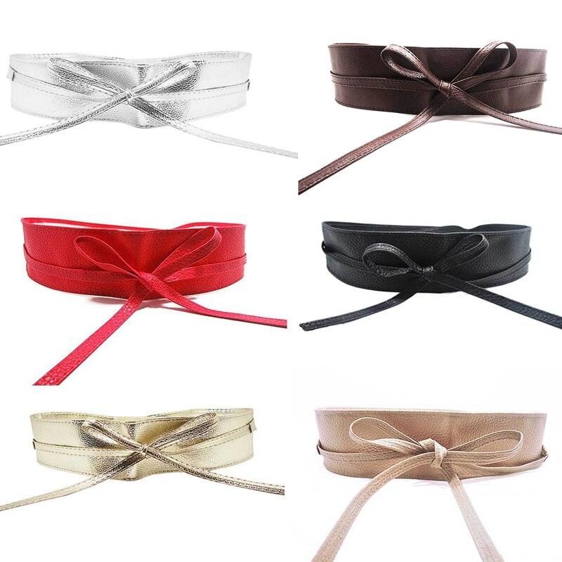KLV High Quality Womens Soft Leather Wide Self Tie Wrap Around Obi Waist Band Boho Dress   Belt