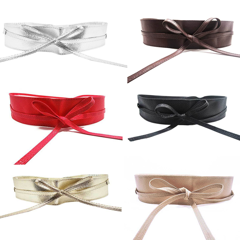 KLV High Quality Womens Soft Leather Wide Self Tie Wrap Around Obi Waist Band Boho Dress Belt