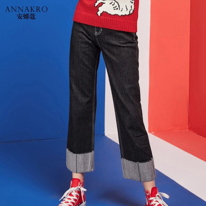 Harajuku прямые джинсы женские весна и осень 2018 новые свободные прилив корейской версии черный девять штаны ANNAKRO
