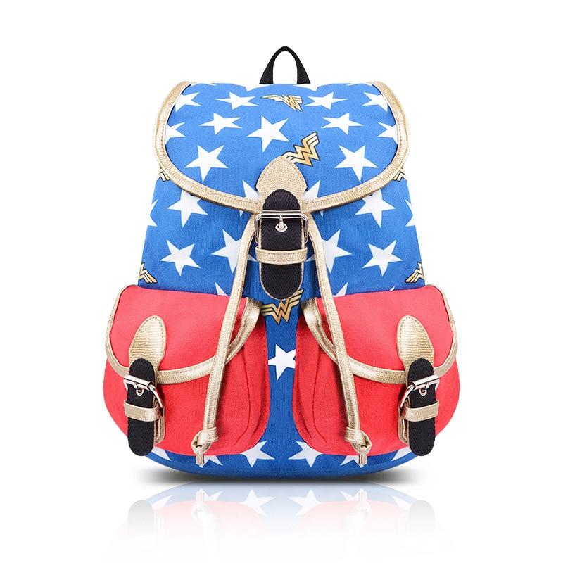 New Arrivals Comics Wonder Woman Backpack Stars Backpacks Cosplay Knapsack Mochilas School Bag Para Mujer
