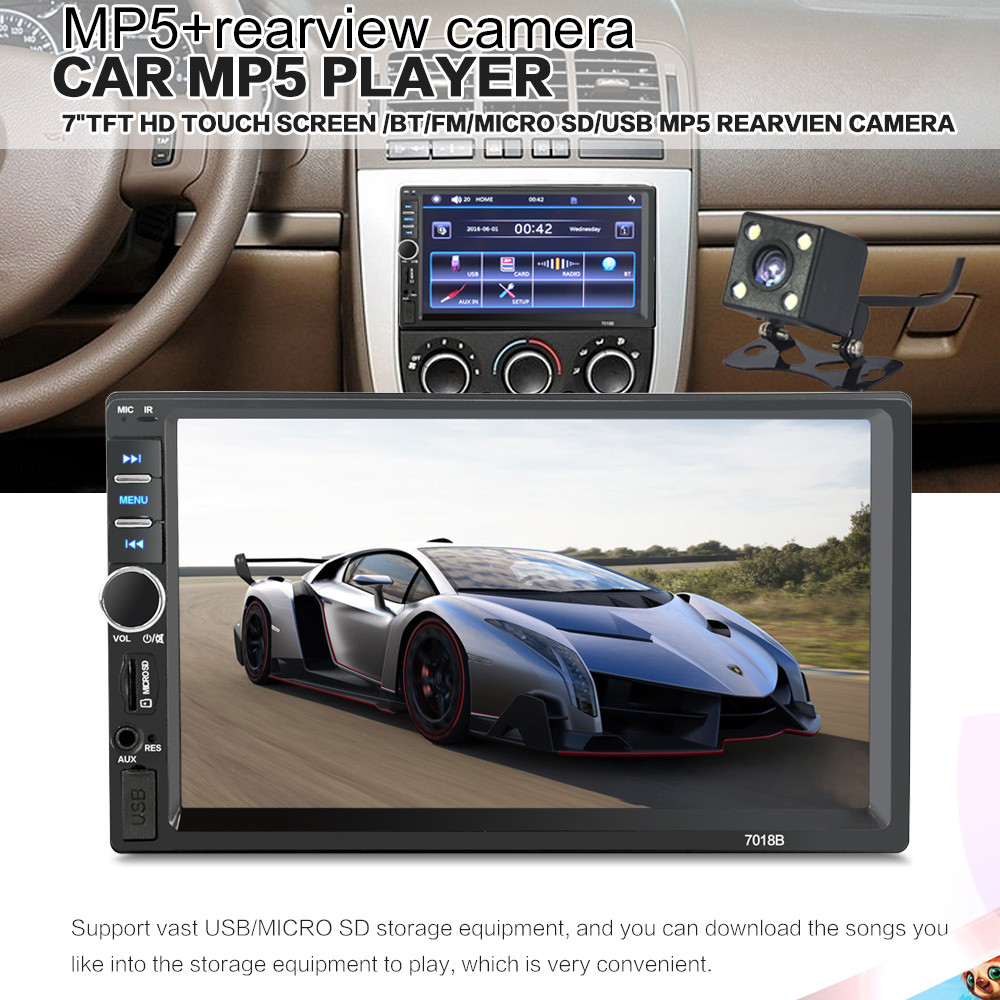 7 Inch 2 Din Bluetooth Car MP5 MP4 MP3 Audio Stereo Video Player In LCD Touch Screen+Rear View Camera+Car Anti-slip Phone Holder image