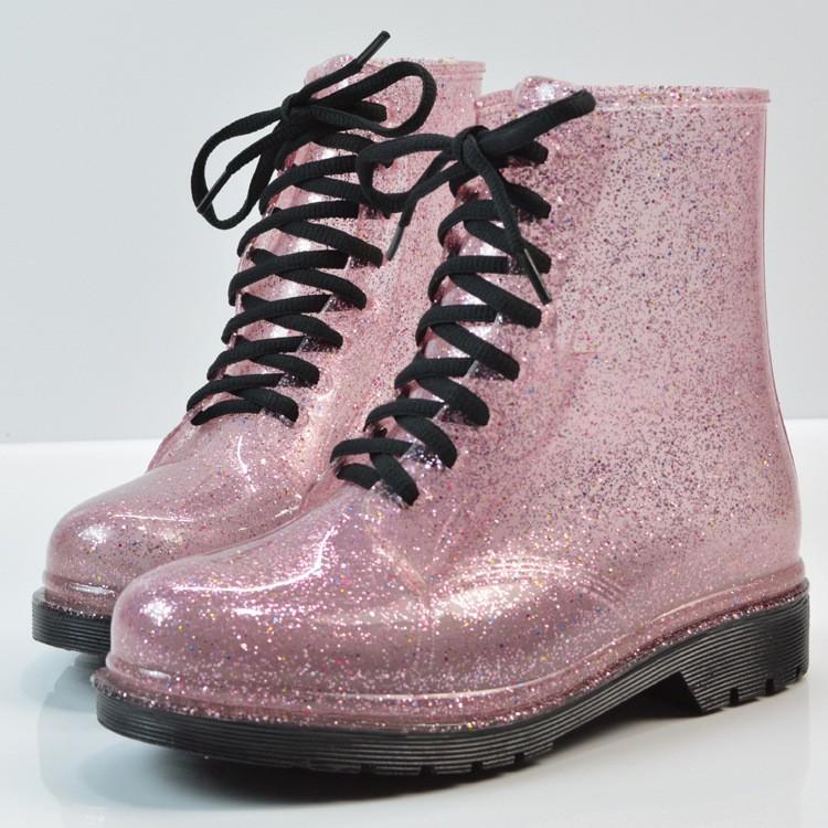 HEE GRAND Rain Boots Glitter Platform Women Ankle Boots Winter ... 3d0ed4bc7dc3