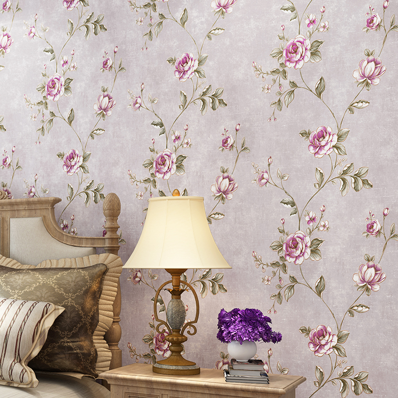 Rustic flower wallpaper roll american style wallpapers 3d for Floral wallpaper for home