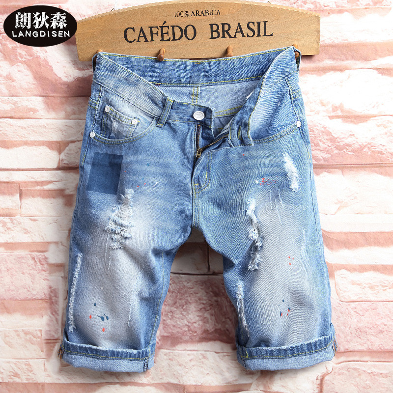 2018 light blue Young mens denim shorts tide affixed cloth patch hole in shorts ...