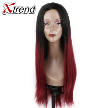 "Xtrend 26"" Long Synthetic Straight Hair Wigs Black Burgundy Green Ombre kanekalon Heat Resistant Cosplay Wigs For Women"