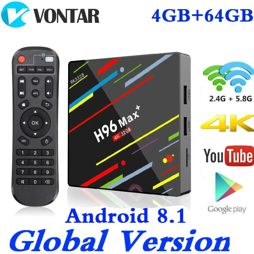 H96 MAX Plus boîtier de smart tv Android 8.1 RK3328 4 K lecteur multimédia QuadCore 4 GB Ram 64 GB ROM H96Max + IP TV TVBOX USB3.0 BT pk h96 pro