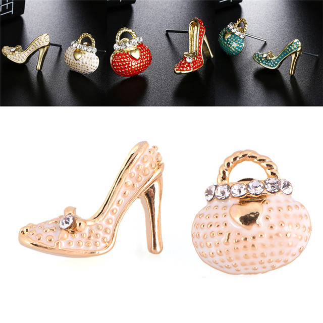 Cute Bags Heels Shoe Asymmetric Earrings For Women High Quality Boucle Ear Studs Earring Jewelry