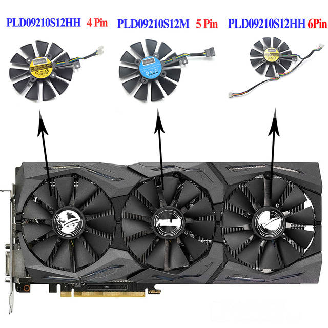 US $7 04 56% OFF|87MM PLD09210S12M PLD09210S12HH Cooler Fan For ASUS Strix  GTX 980Ti GTX 1060 1080 1070 RX 480 580 VEGA64 VEGA56 Graphics Card-in Fans