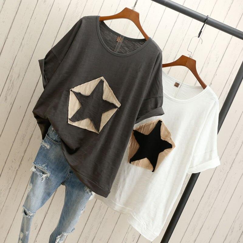 Fanco Plus Size Women Loose T-shirt Star White Black Gray Fashion Casual Cotton T-shirts Tops Tee Cotton T-shirts Outwears