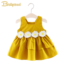 Lolita Summer Baby Girl Dress Flower Sleeveless Vestido Infantil Baby Girl Frocks A-Line Cotton Infant Baby Dresses Clothes