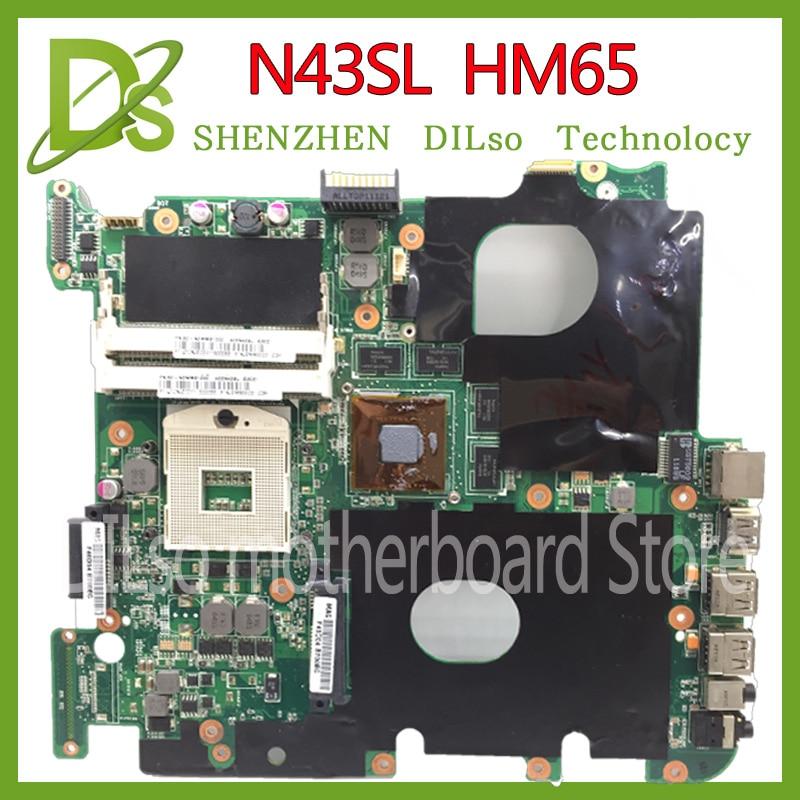 KEFU N43SL For ASUS N43S N43 HM65 laptop motherboard n43SL HM65 motherboard rev2.3 100% tested freeshipping laptop motherboard fit for asus n55sf n55sl n55s rev 2 0 60 n5fmb3600b03 hm65 ddr3 full tested