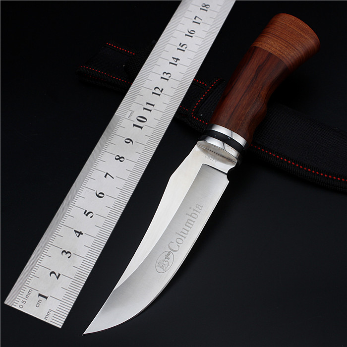 2017 New Free Shipping Fixed Hunting Knife Wood Handle Camping Outdoor Folding Straight Knives Tactical Survival
