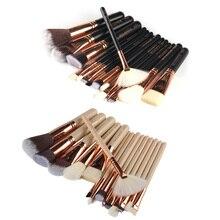 15Pcs/Set Professional Nylon fibre Rose Gold Makeup Brushes Set Kit Foundation Brush Tool