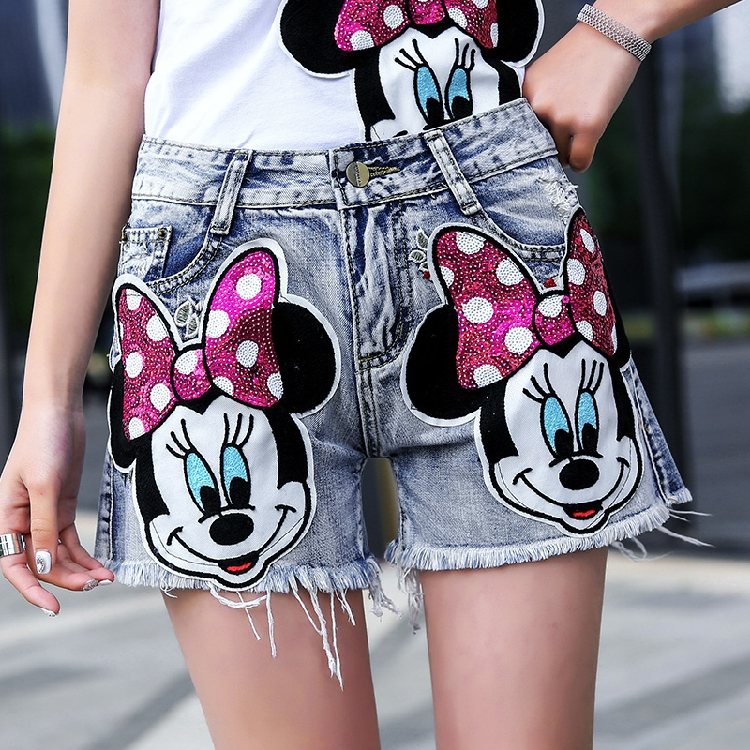 Summer Clothes for Women 2018 Korean New Embroidered Cartoon Sequins Skinny Personality Denim   Shorts   Hot Trousers Jeans Students