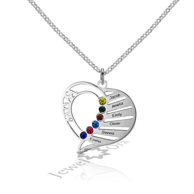 Best Family Gift Personalized Engrave Heart Pendants DIY 6 Names Necklaces 925 Sterling Silver Necklaces & Pendants For Mom
