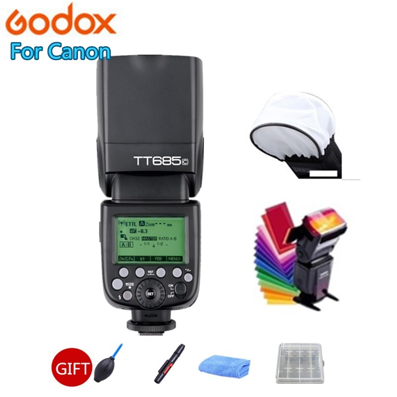 Godox TT685C Flash Speedlite High Speed Sync External TTL HSS For Canon Flash 1100D 1000D 7D 6D 60D 50D 600D 500D + Gift Kit-in Flashes from Consumer Electronics