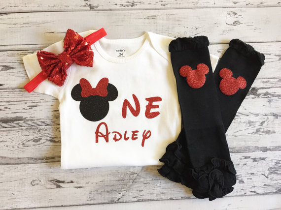 personalized Minnies mouse first birthday bodysuit onepiece Tutu shirt legwarmers  toodles Outfit baby shower party favors 193818184a96