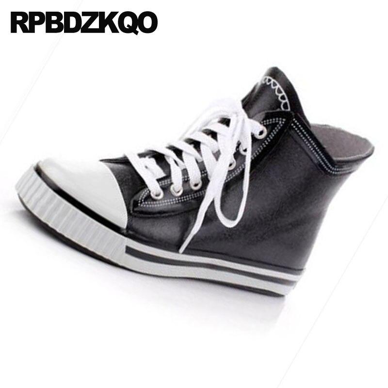 Taille De Chaussons À Mode Dentelle Étanche Cheville Sneakers Bottes forme Semelles Épaisses Noir Chaussures Plus Up Piste Formateur Plate Hommes Grande Haute 4qvaOwv1