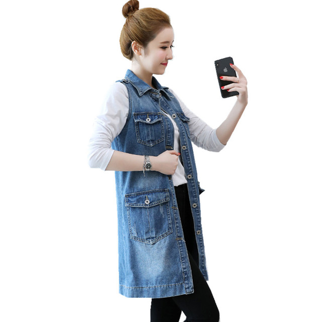 6460a3afe40 Plus Size Summer Denim Waistcoat For Women Vest Korean Fashion Single-breasted  Long Sleeveless Jacket Female Gilet Jeans Coat
