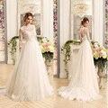 Vetido де novia свадебное платье сшитое с кружевом Три четверти slevee плюс размер принцесса-LINE свадебное платье быстрая доставка