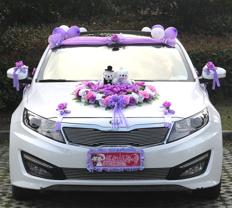 2017 Wedding Car Floats with Bear Car Flower Simulation Rose Flower Decoration Set Marry Korean Wedding Flower Supplies