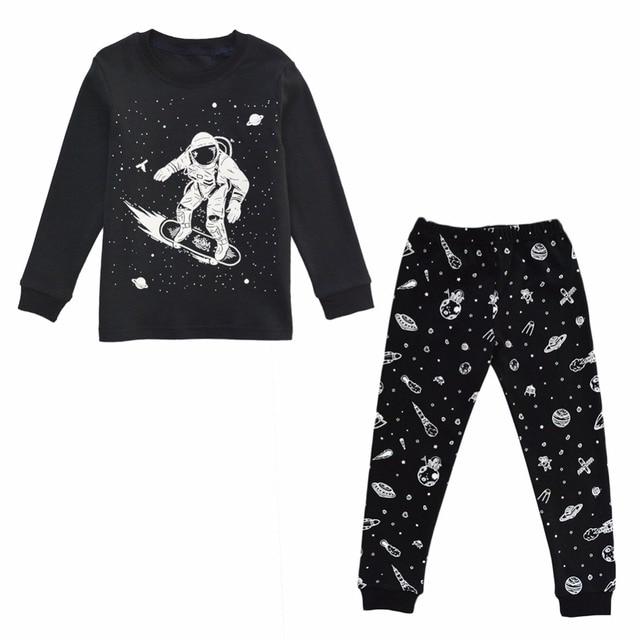 1ec155ff5b4b BINIDUCKLING New Autumn Boys Kids Pajamas Set Black Outer Space ...