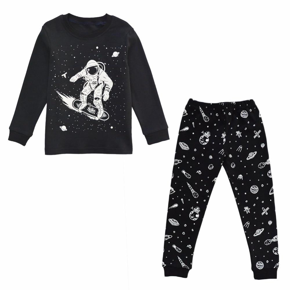 BINIDUCKLING New Autumn Boys Kids   Pajamas     Set   Black Outer Space Pattern Sleepwear   Set   Cotton Long Sleeve T-shirt+pants Homewear