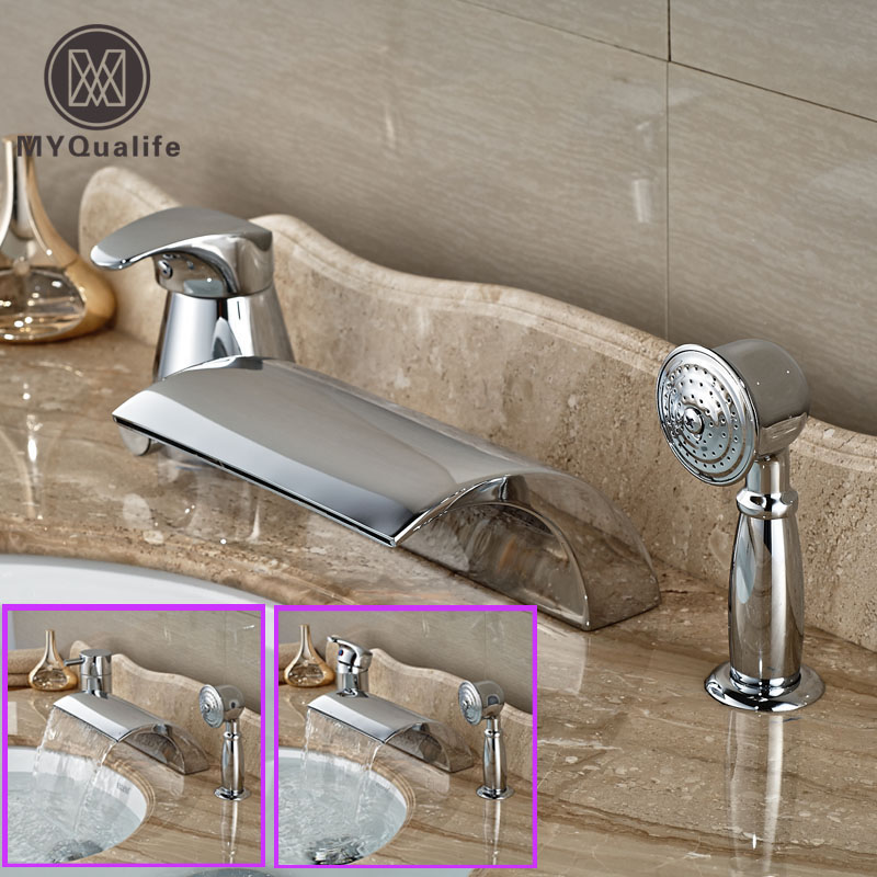 Luxury 3pcs Waterfall Spout One Handle Tub Faucet Deck Mount Widespread Bathtub Mixer Tap with Handshower oil rubbed bronze waterfall tub mixer faucet free standing floor mount bathtub faucet with handshower