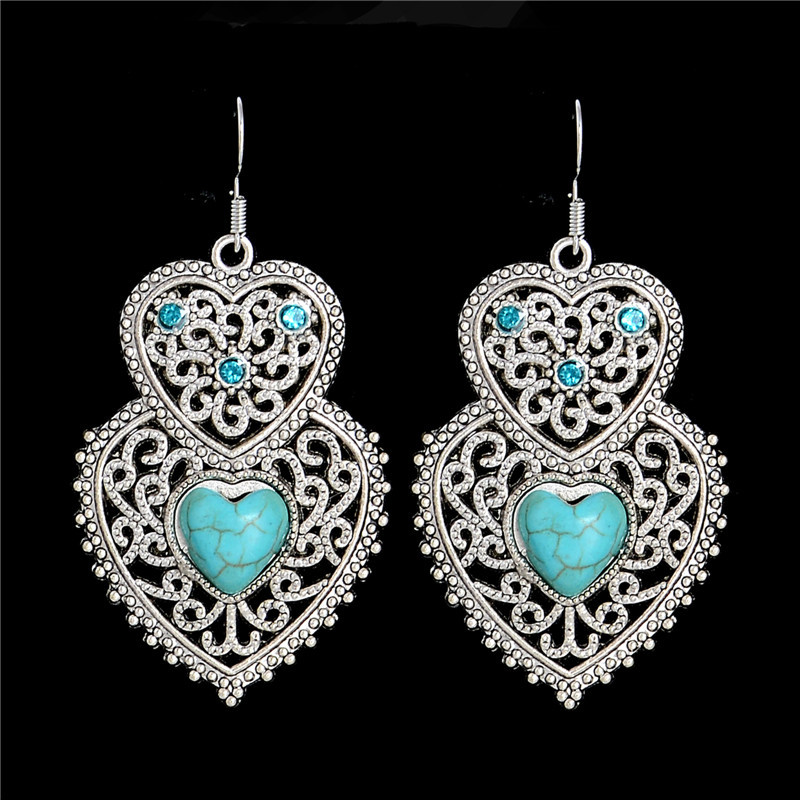 1pair=2pcs Retro Bohemia Jewelry Ethnic Vintage Tibetan Silver Natural Stone Royal Hollow Drop Dangle Earrings TC358