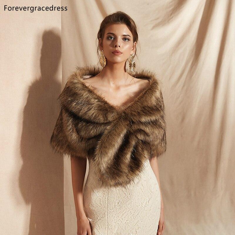 Forevergracedress 2019 Elegant Soft Autumn Winter Faux Fur Bride Wedding Wrap Bolero Jackets Bridal Coats Shawls Scarves PJ302