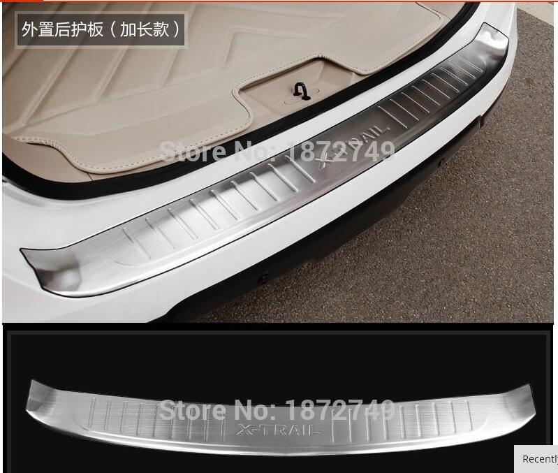 For Nissan X trail X-Trail Rogue T32 2014 Rear Bumper Protector Tail Tailgate Trunk Guard Sill Plate Scuff Trim 2014 2015 for nissan rogue x trail rear tail licence plate cover trim trunk frame cover trim chrome