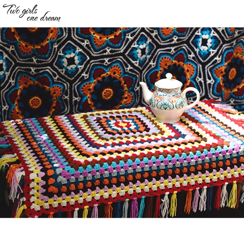 Devoted Handmade Crochet Retro Nap Blanket Multifunctional Crochet Cushion Colourful Table Mats Home Decorate Tablecloth Cover Carpet Cheap Sales Blankets Home Textile